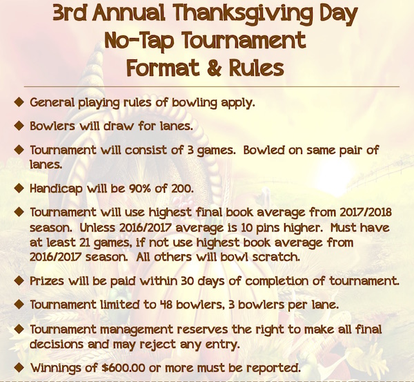 Thanksgiving Tournament Rules